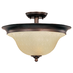 Maxim Three Light Oil Rubbed Bronze Embossed Vanilla Glass Bowl Semi-Flush M