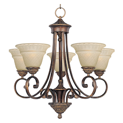 Maxim Five Light Oil Rubbed Bronze Embossed Vanilla Glass Up Chandelier