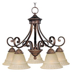 Maxim Five Light Oil Rubbed Bronze Embossed Vanilla Glass Down Chandelier