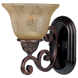 Maxim One Light Oil Rubbed Bronze Screen Amber Glass Wall Light