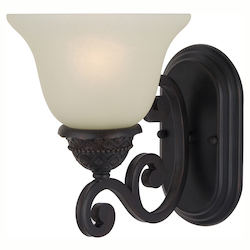 Maxim One Light Oil Rubbed Bronze Soft Vanilla Glass Wall Light