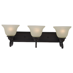 Maxim Three Light Oil Rubbed Bronze Soft Vanilla Glass Vanity