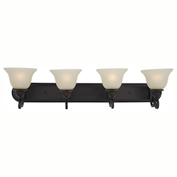 Maxim Four Light Oil Rubbed Bronze Soft Vanilla Glass Vanity