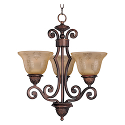 Maxim Three Light Oil Rubbed Bronze Screen Amber Glass Up Mini Chandelier