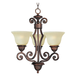 Maxim Open Box Three Light Oil Rubbed Bronze Soft Vanilla Glass Up Mini Chandelier