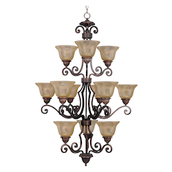 Maxim Twelve Light Oil Rubbed Bronze Screen Amber Glass Up Chandelier