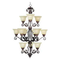 Maxim Twelve Light Oil Rubbed Bronze Soft Vanilla Glass Up Chandelier