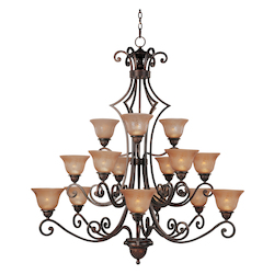 Maxim Fifteen Light Oil Rubbed Bronze Screen Amber Glass Up Chandelier