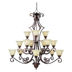 Maxim Fifteen Light Oil Rubbed Bronze Soft Vanilla Glass Up Chandelier