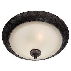 Maxim Two Light Oil Rubbed Bronze Soft Vanilla Glass Bowl Flush Mount