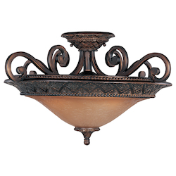Maxim Three Light Oil Rubbed Bronze Screen Amber Glass Bowl Semi-Flush Mount