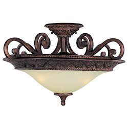 Maxim Three Light Oil Rubbed Bronze Soft Vanilla Glass Bowl Semi-Flush Mount