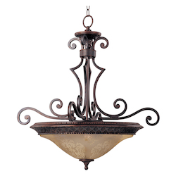 Maxim Three Light Oil Rubbed Bronze Screen Amber Glass Up Pendant