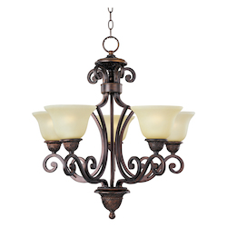 Maxim Five Light Oil Rubbed Bronze Soft Vanilla Glass Up Chandelier
