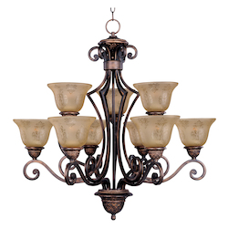 Maxim Nine Light Oil Rubbed Bronze Screen Amber Glass Up Chandelier
