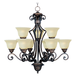Maxim Nine Light Oil Rubbed Bronze Soft Vanilla Glass Up Chandelier