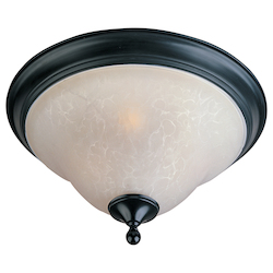 Maxim Two Light Black Ice Glass Bowl Flush Mount