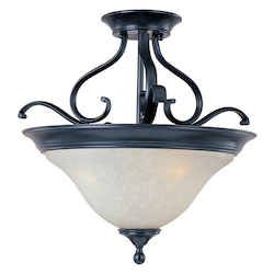 Maxim Three Light Black Ice Glass Bowl Semi-Flush Mount