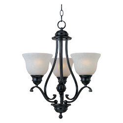 Maxim Three Light Black Ice Glass Up Mini Chandelier