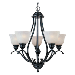 Maxim Five Light Black Ice Glass Up Chandelier