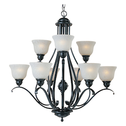 Maxim Nine Light Black Ice Glass Up Chandelier