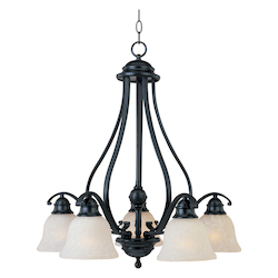 Maxim Five Light Black Ice Glass Down Chandelier