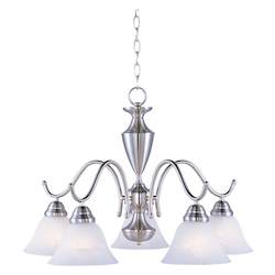 Maxim Five Light Satin Nickel Marble Glass Down Chandelier