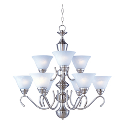 Maxim Nine Light Satin Nickel Marble Glass Up Chandelier
