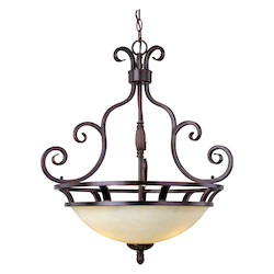 Maxim Three Light Oil Rubbed Bronze Frosted Ivory Glass Up Pendant