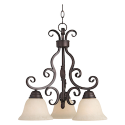 Maxim Three Light Oil Rubbed Bronze Frosted Ivory Glass Down Mini Chandelier