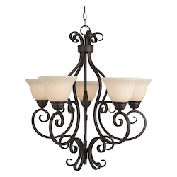 Maxim Five Light Oil Rubbed Bronze Frosted Ivory Glass Up Chandelier