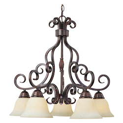 Maxim Five Light Oil Rubbed Bronze Frosted Ivory Glass Down Chandelier