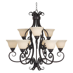 Maxim Nine Light Oil Rubbed Bronze Frosted Ivory Glass Up Chandelier