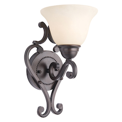 Maxim One Light Oil Rubbed Bronze Frosted Ivory Glass Wall Light