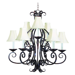 Maxim Nine Light Oil Rubbed Bronze Up Chandelier