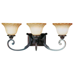 Maxim Three Light Oil Rubbed Bronze Wilshire Glass Vanity