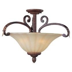 Maxim Three Light Cafe Glass Auburn Florentine Bowl Semi-Flush Mount