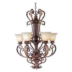 Maxim Five Light Cafe Glass Auburn Florentine Up Chandelier