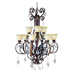 Maxim Nine Light Cafe Glass Auburn Florentine Up Chandelier