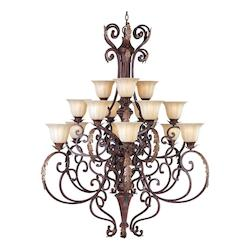 Maxim Fifteen Light Cafe Glass Auburn Florentine Up Chandelier