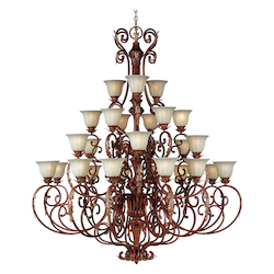 Maxim Twenty Seven Light Cafe Glass Auburn Florentine Up Chandelier