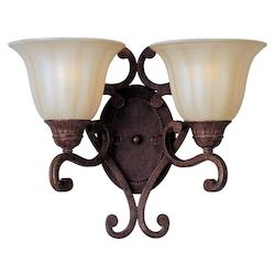 Maxim Two Light Cafe Glass Auburn Florentine Wall Light