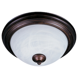 Maxim One Light Oil Rubbed Bronze Marble Glass Outdoor Flush Mount