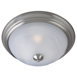 Maxim One Light Satin Nickel Marble Glass Outdoor Flush Mount
