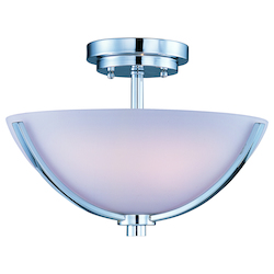 Maxim Three Light Polished Chrome Satin White Glass Bowl Semi-Flush Mount