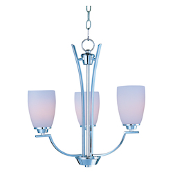 Maxim Three Light Polished Chrome Satin White Glass Up Chandelier