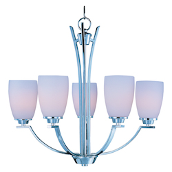 Maxim Five Light Polished Chrome Satin White Glass Up Chandelier