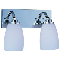 Maxim Two Light Polished Chrome Satin White Glass Vanity