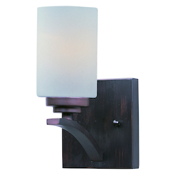 Maxim One Light Oil Rubbed Bronze Satin White Glass Wall Light