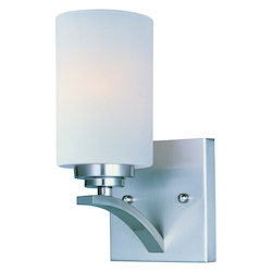 Maxim One Light Satin Nickel Satin White Glass Wall Light
